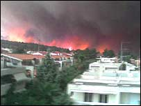 Picture of forest fire in northern Greece sent to the BBC by holidaymaker Jo Leaney