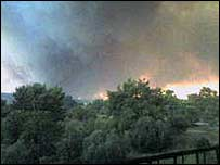 Picture of forest fire in Hanioti, northern Greece sent to the BBC by holidaymaker Lyndsey Jones