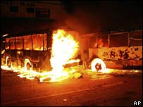 Burning buses in Oaxaca, 21 Aug 2006