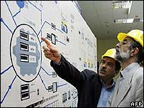 Iran's parliamentary Speaker Gholam Ali Haddad-Adel is shown around the Bushehr nuclear power plant