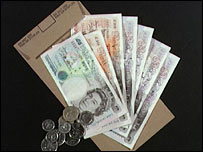 Wage packet and cash