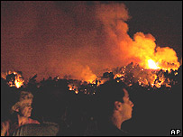 Local residents watch the fire in village of Kriopigi, Halkidiki, 21 Aug 06