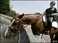 Cop on a horse in Central Park