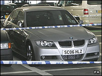Rahan Arshad's BMW at Heathrow airport