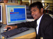 Roshan from Charters school, Berkshire, prepares a news web page