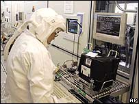 Worker at an Intel chip plant