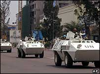 UN armoured vehicles patrol the streets of Kinshasa