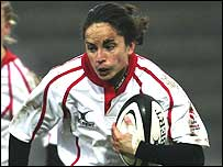 England centre Sue Day in action against France in this year's Women's Six Nations