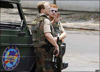 German soldiers of the EU force in Kinshasa on 22 August 2006