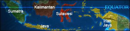 Equator line across Indonesia