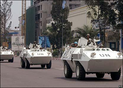 UN troops in Kinshasa on 21 August