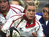 Danielle Waterman in action for England against France