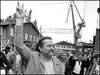 Walesa in Gdansk shipyard, 1980