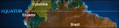 Equator line across Latin America