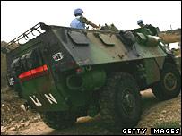 French soldiers in a UN military vehicle
