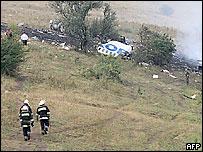 На месте катастрофы Ту-154 под Донецком