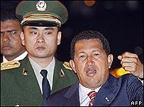 Venezuelan President Hugo Chavez arriving in Beijing