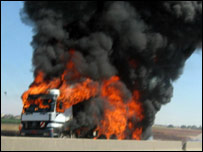 Fuel truck hit in Israeli air strike at Hilaniya on August 5 (Amnesty International)