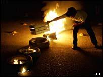Barricades burning in the city of Oaxaca