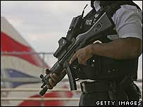 An armed British police officer