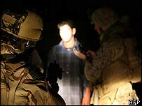US marines question a suspect in Iraq