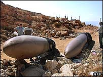 Objects identified as external fuel tanks of an Israeli jet near the eastern Lebanese city of Baalbek