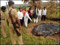 Villagers show the place where Janakrani immolated herself on the funeral pyre of her husband Prem Narayan at Tulasipar