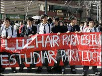 Student march in Santiago, Chile