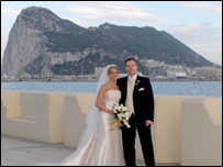 A couple after their wedding in Gibraltar