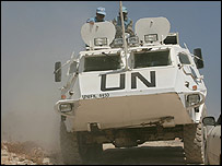 UN peacekeepers near the southern Lebanon border town of Adaisse on 22 August 2006