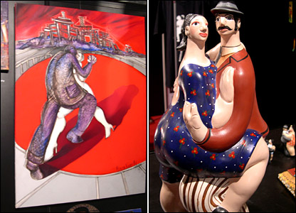 Tango-themed painting and figurine