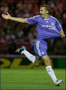Chelsea's Andriy Shevchenko celebrates scoring the opener