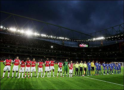 Arsenal and Dinamo Zagreb appear on the pitch