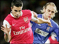 Arsenal striker Robin van Persie (left) was easily his side's most dangerous player against Dinamo Zagreb
