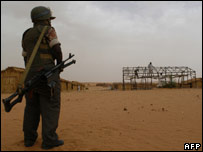 African Union soldier on patrol in Darfur