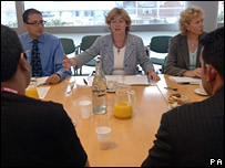 Ruth Kelly meeting Muslim leaders on 14 August