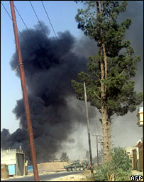 The scene of a suicide attack in Kandahar