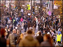 Shoppers mingling on Oxford Street