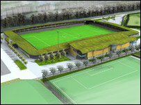 Artist's impression of the new stadium (from Dartford Borough Council)