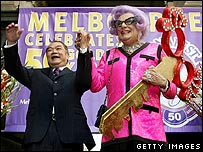 Melbourne's Lord Mayor, John So, and Dame Edna Everage
