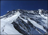 Climbers nearing the summit of Everest