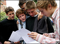 Students at Brighton College studying their results