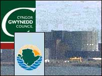 Wylfa on Anglesey and council logos