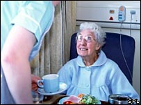Elderly patient being given food