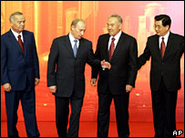Uzbek, Russian, Kazakh and Chinese leaders (left to right) at the Shanghai Cooperation Organisation meeting in June