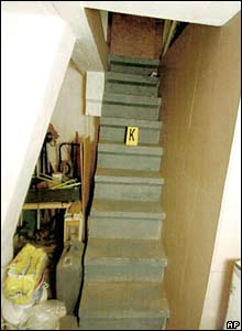 Stairs leading to the hiding place of Natascha Kampusch