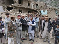Bilal Sarwary (centre) carries out interviews in Bajgah, northern Afghanistan