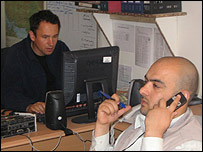Bilal Sarwary (right) in the Kabul bureau prior to leaving for US in 2006