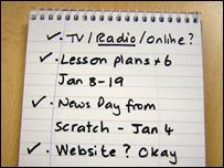 Checklist in a notebook