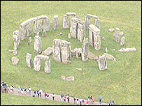 Aerial view over Stonehenge